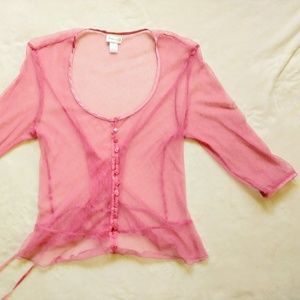 Frederick's of Hollywood Pink SHEER Mesh Lace Top